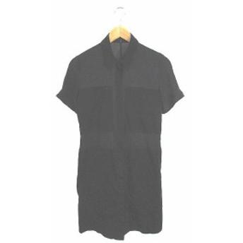 【中古】セオリー theory ワンピース シャツ ひざ丈 半袖 2 紺 ネイビー 黒 ブラック /YK29 レディース