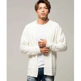 シルバーバレット CavariA日本製シェパードチェック柄ジャガード織り長袖ニットガウン メンズ ホワイト 46(L) 【SILVER BULLET】