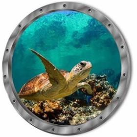 ウォールステッカー 潜水艦窓から ウミガメ 3D壁シール エメラルドグリーンの海底 泳ぐ 海亀 さんご 簡単DIY 再剥離 インテリアシール