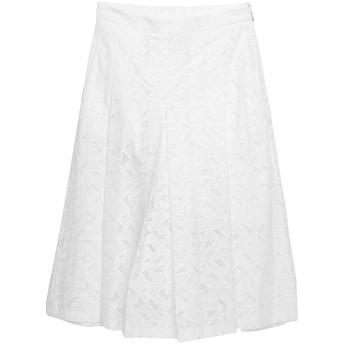 《セール開催中》NEIL BARRETT レディース ひざ丈スカート ホワイト 40 コットン 65% / ポリエステル 35%