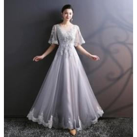 ドレス イブニングドレス パーティードレス ロングドレス ラウンドネック 半袖 レース 刺繍 フレア 上 3564-GY-W