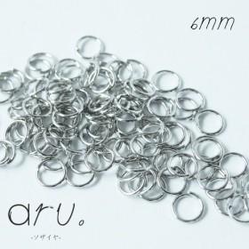 [K1810-6]【300個】 丸カン 6mm シルバー 銀