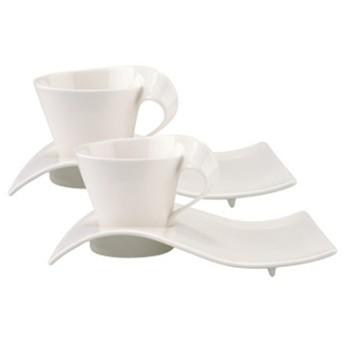 [ビレロイ&ボッホ] ニューウェイブカフェ ペアカプチーノカップ&プラターセット 洋食器・グラス