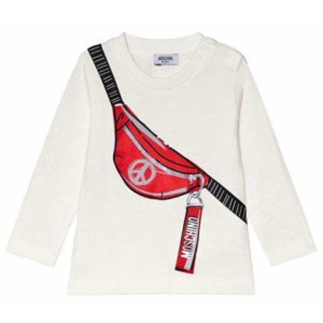モスキーノ Tシャツ 長袖 トップス キッズ 女の子【Moschino White Branded Waist Bag Print T-Shirt】