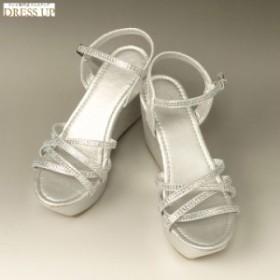 サンダル レディース 厚底サンダル ステージ靴 ウエッジソール 痛くない パーティーサンダル 美脚 23cm シルバー SS(36) E7668SS