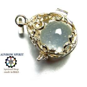 ★送料無料★[Silver925]卵の形の中身が取り出せるシルバーペンダント(クリスタル/水晶)