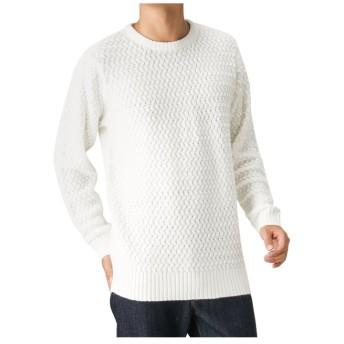 【24%OFF】 マックハウス Navy 洗える5Gバスケット編み MH/03592FW メンズ ホワイト L 【MAC HOUSE】 【セール開催中】