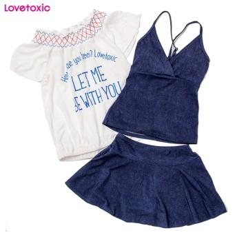 【ラブトキシック】首回りスモッキングTシャツ3点セット水着(女児)(150cm)