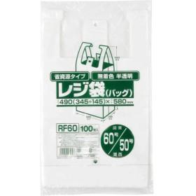 ジャパックス レジ袋 省資源タイプ 半透明 (東日本60号・西日本50号) RF-60 (100枚入)