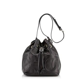 JUNO/S 「CHOO」エンボスロゴ入り Black ナッパレザー・ドローストリングバッグ
