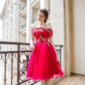花柄 刺繍 オフショルダー フレア チュールスカート ワンピース きれいめ 上品 可愛い オルチャン 二次会 大きいサイズ