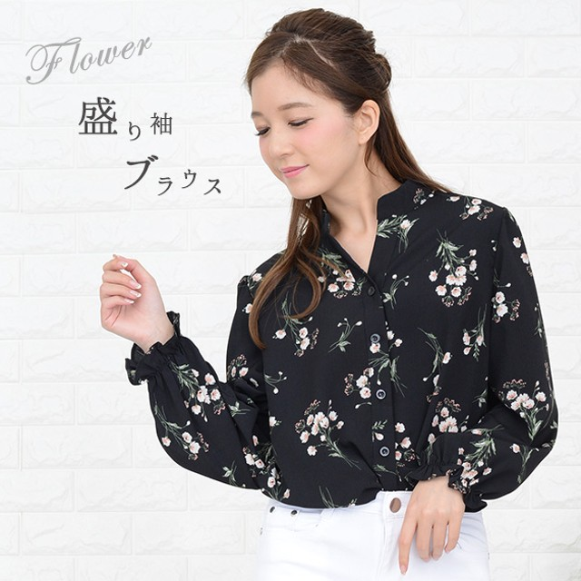 ede87962dc3d57 ブラウス - レースレディース 盛り袖 小花柄ブラウス オーバーサイズ ゆる 花柄シャツ ふんわり