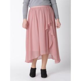 【大きいサイズレディース】秋物【L-3L】ゆったりサイズ!イレギュラーヘムロングスカート スカート ロングスカート