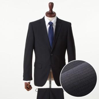 【しわになりにくいスーツ!】スリム 2ボタンノータックスーツ(メンズ) コン(シャドー柄)