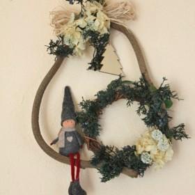 *「creema限定」 アリスの森の北欧風 wreath妖と白あじさい*
