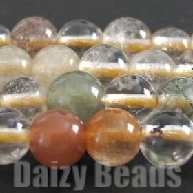 天然石 パワーストーン ビーズ 「ルチルクオーツ(天然)」 丸玉 4mm 1連(約38-40cm)