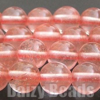 天然石 パワーストーン ビーズ 「ストロベリークオーツ(人工)」 丸玉 約6mm 1連(約38-40cm)
