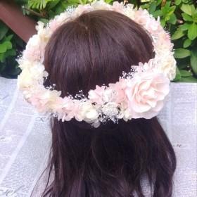 バラ&アジサイのナチュラルシュガー花冠*プリザーブドフラワー*カラーオーダーOK