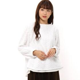 シャツ ブラウス レディース 花柄総刺繍のレイヤード風ブラウス 後ろデザイン 「オフホワイト」