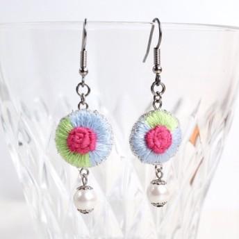バラ刺繍 フックピアス ブルー+グリーン P70