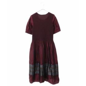 HIROKO BIS / ループ柄シャーリング ジャガードドレス