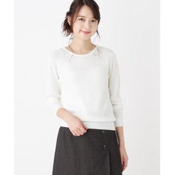 index / インデックス 【洗える】衿ビジュー付きニット