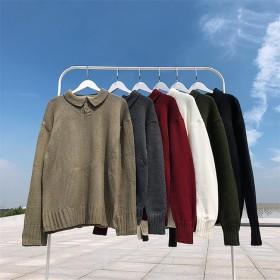 [55555SHOP]セーター ニット メンズ 長袖 クルーネック トップス カラー シンプル カジュアル ファッション 通勤通学