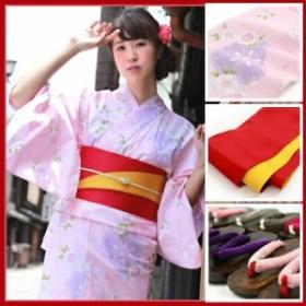 浴衣 セット レディース レトロ高級変わり織り綿浴衣3点セット「ピンク地にピンクと紫の鹿の子八重桜」