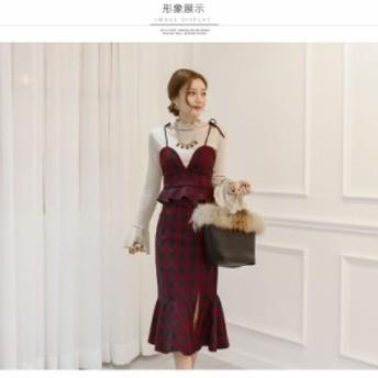 リボンビスチェ スカート ツーピース セットアップ ひざ丈 長袖 タータンチェック マーメイド 大人可愛い 秋冬 デート 韓国