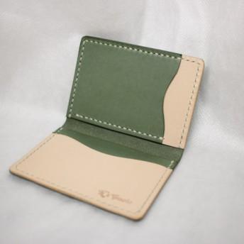 ヌメ革 手縫いツートンパスケース(グリーン&ナチュラル)