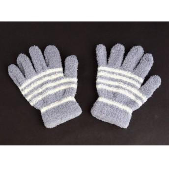 手袋 フリーサイズ モコモコタイプ ボーダー柄 [色指定不可]