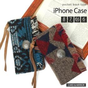 iPhone8/7/6s/6ケース 手帳型スマホケース ネイティブ エスニック柄 カード入れ ミニミラー付き iPhoneケース