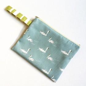 Swan Zipper Bag, Swan Lake Wristlet, Boho Clutch