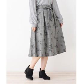 3can4on / サンカンシオン グレンチェックonフラワーリボン付きスカート