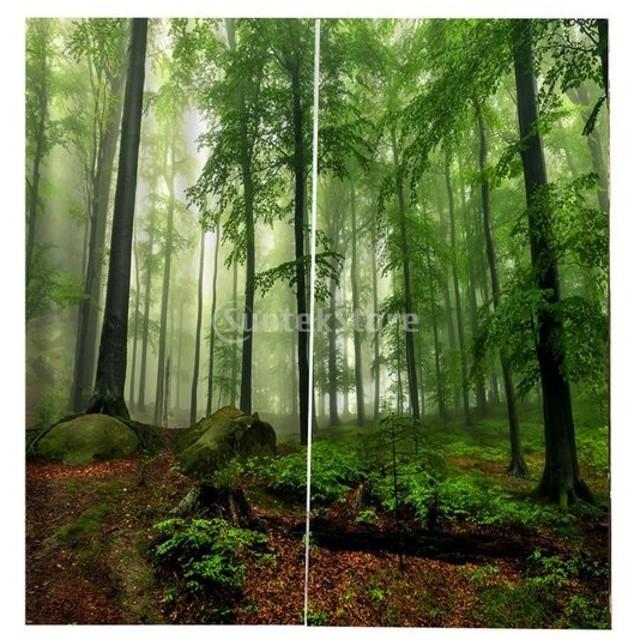 Perfk 3D デジタル印刷 2パネル 遮光カーテン+カーテン フック + サイレント カーテン リング 全13デザイン - 森林