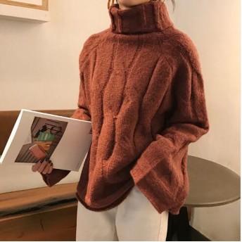 [55555SHOP]ピンクシスレーだ揚げ菓子トドゥルネク・ニット ニット/セーター/タートルネック/ポーラーニット/韓国ファッション