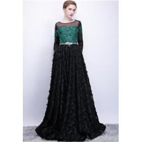 ドレス ロングドレス パーティードレス イブニングドレス ラウンドネック 長袖 刺繍 レース フレア エ 3640-BK-W