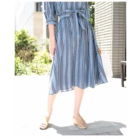 OFUON / 【洗濯機で洗える】ストライプコットンフレアスカート