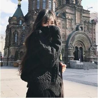 [55555SHOP] 韓国ファッション そでにワンポイント!ゆったりタートルネックリブニットタートルネック、ニット、暖かい ニット タートルネック
