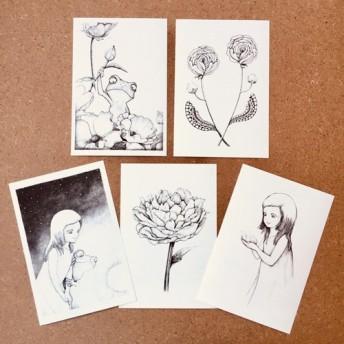 ポストカード 「花と少女と」 5枚セット