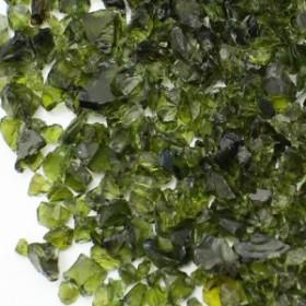 (1169) 【ミニチュアパーツ】ガラスカレット アンティークグリーン 緑  丸型ケース入り