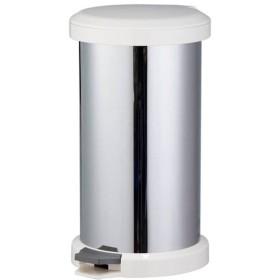 においが漏れにくい ゴミ箱/ダストボックス 〔ホワイト〕 幅32cm 18L ステンレス 内蓋2重構造 〔キッチン 台所〕