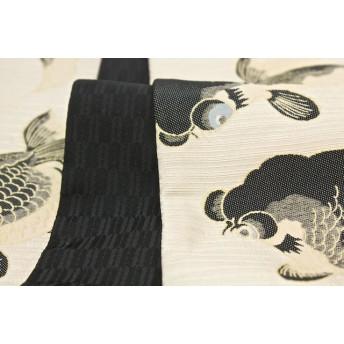 浴衣・着物の帯 - SOUBIEN 半幅帯 ブランド おりびと 鳥の子色 黒 金魚 矢羽根 半巾帯 日本製