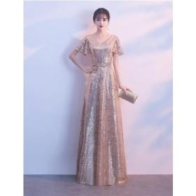 ドレス ロングドレス パーティードレス イブニングドレス Vネック 半袖 フレア スパンコール 華やか  3628-GD-W