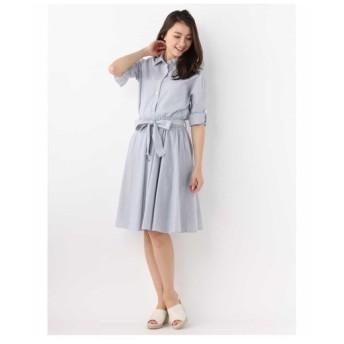 OFUON / リボンベルト付きシャツ&フレアスカートセット