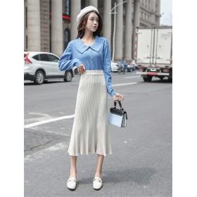 超人気韓国chic/ファッション/スカート/ニットプリーツスカート/ハイウエスト/ミッドスカート