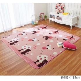 ゆるねこ ラグマット/絨毯 〔ピンク 約185cm×185cm〕 正方形 洗える フランネル ウレタン 〔リビング〕