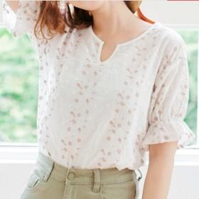 売れ筋☆おすすめ☆ 半袖 花柄 ブラウス フリル Vネック かわいい ホワイト
