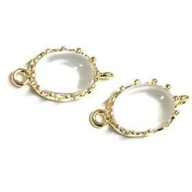 再販【2個入り】楕円形Clearクリア・ホワイトカラーGlassガラスゴールドコネクター、チャーム