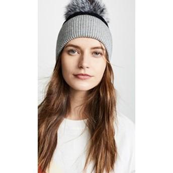 ジョセリン 帽子 ハット キャップ レディース【Jocelyn Knit Hat with Fur Pom】Black/Grey